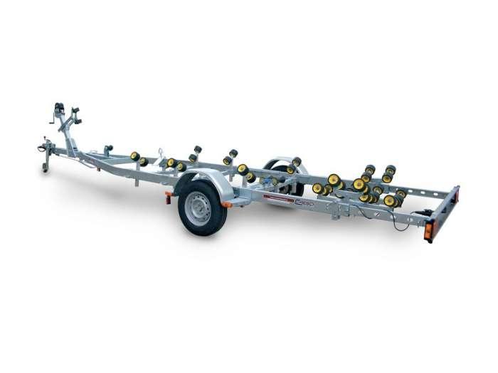 Rimorchi trasporto imbarcazioni  N1300BC-R / N1500BC-R /  N1300B-R / N1500B-R Traversa posteriore basculante multirullo di serie