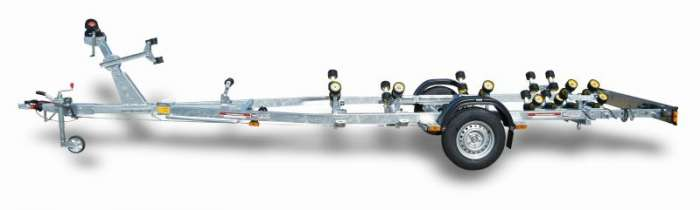 Rimorchi trasporto imbarcazioni  N1500BC-R Traversa posteriore basculante multirullo di serie